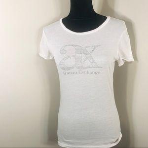 Armani Exchange White Logo Tee Small